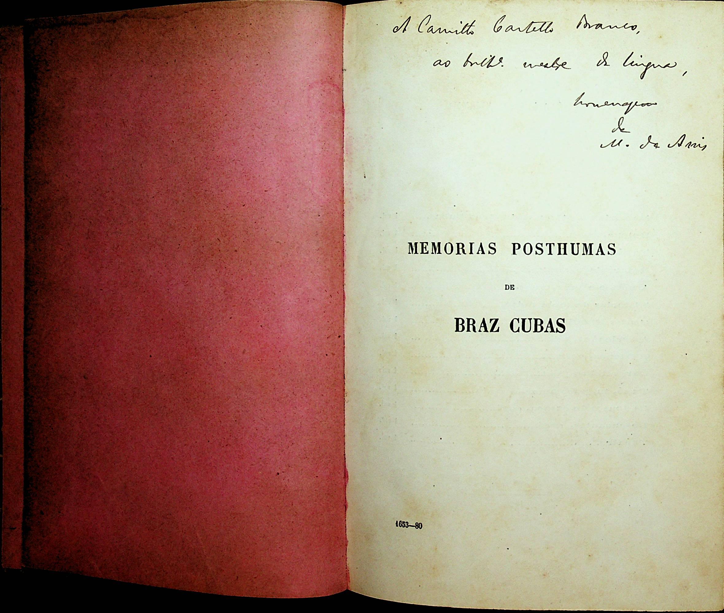 1ª edição de Memórias Póstumas de Braz cubas. 1881